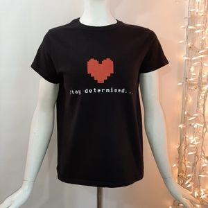 3/$18  Hanes Stay Determined Black Tee Red
